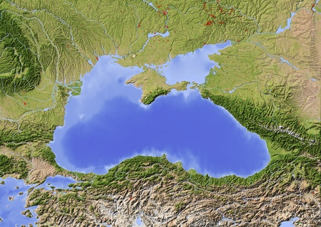 Black Sea with immediately surrounding countries. Shaded relief map with major urban areas.  Colored according to vegetation.  Projection: Mercator Extents: 24.54538.549 Data source: NASA