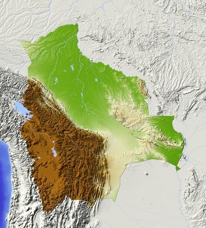 mapa de bolivia: Bolivia. Mapa en relieve sombreado con las principales zonas urbanas. Territorio circundante de color gris. De color de acuerdo a la elevación. Incluye clip de ruta para el área de estado. Proyección: Extensión de Mercator: -71-56-24-8 Fuente: NASA