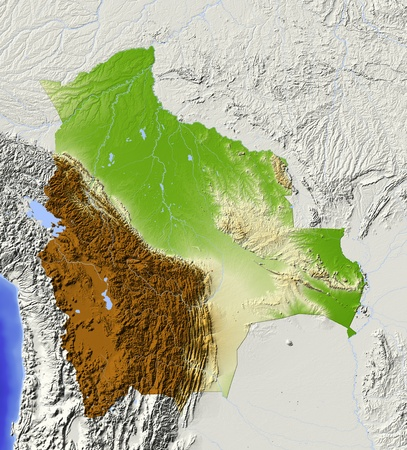 bathymetry: Bolivia. Shaded relief map with major urban areas. Surrounding territory greyed out. Colored according to elevation. Includes clip path for the state area. Projection: Mercator Extents: -71-56-24-8 Data source: NASA Stock Photo