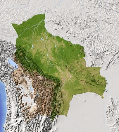 mapa de bolivia: Bolivia. Mapa en relieve sombreado con las principales zonas urbanas. Territorio circundante de color gris. De color de acuerdo a la vegetaci�n. Incluye clip de ruta para el �rea de estado. Proyecci�n: Extensi�n de Mercator: -71-56-24-8 Fuente: NASA Foto de archivo