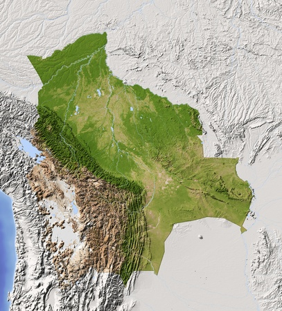 chaco: Bolivia. Shaded relief map with major urban areas. Surrounding territory greyed out. Colored according to vegetation. Includes clip path for the state area. Projection: Mercator Extents: -71-56-24-8 Data source: NASA