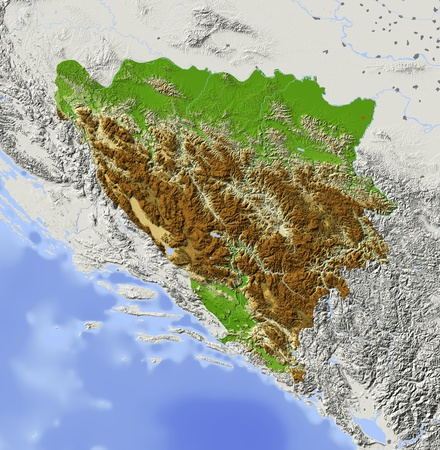 Bosnia and Herzegovina. Shaded relief map with major urban areas. Surrounding territory greyed out. Colored according to elevation. Includes clip path for the state area. Projection: Mercator Extents: 15.120.14245.7  photo