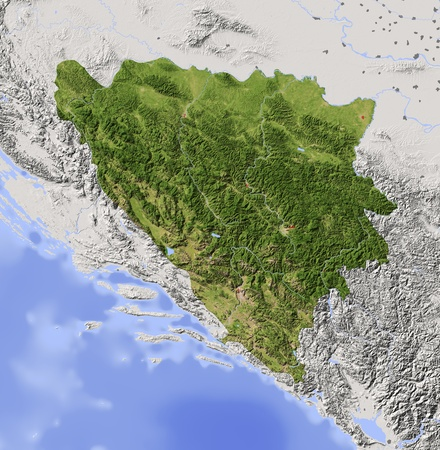 bosnia: Bosnia and Herzegovina. Shaded relief map with major urban areas. Surrounding territory greyed out. Colored according to vegetation. Includes clip path for the state area. Projection: Mercator Extents: 15.120.14245.7