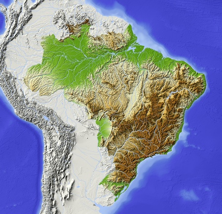 physical geography: Brazil. Shaded relief map with major urban areas. Surrounding territory greyed out. Colored according to elevation. Includes clip path for the state area. Projection: Lambert Azimuthal Equal-Area Extents: R-83-35-3211 Data source: NASA Stock Photo