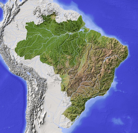 brazil map: Brazil. Shaded relief map with major urban areas. Surrounding territory greyed out. Colored according to vegetation. Includes clip path for the state area. Projection: Lambert Azimuthal Equal-Area Extents: R-83-35-3211 Data source: NASA