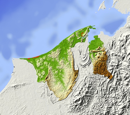 Brunei, shaded relief map. Colored according to elevation, with major urban areas. Includes clip path for the state boundary.  Projection: Mercator  Geographic extents: W: 113.8; E: 115.6; S: 3.8; N: 5.4 photo