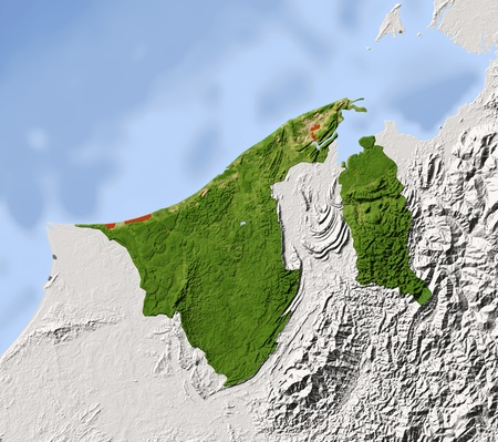 Brunei, shaded relief map. Colored according to vegetation, with major urban areas. Includes clip path for the state boundary.  Projection: Mercator  Geographic extents: W: 113.8; E: 115.6; S: 3.8; N: 5.4 photo