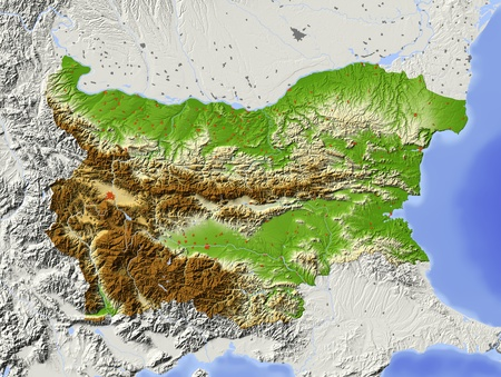 Bulgaria. Shaded relief map with major urban areas. Surrounding territory greyed out. Colored according to elevation. Includes clip path for the state area. Projection: Mercator Extents: 42.947.238.142 Data source: NASA