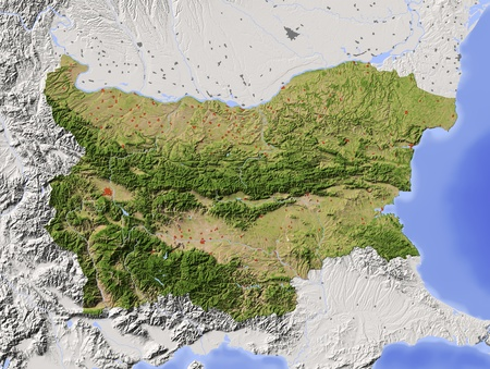bulgaria: Bulgaria. Shaded relief map with major urban areas. Surrounding territory greyed out. Colored according to vegetation. Includes clip path for the state area. Projection: Mercator Extents: 42.947.238.142 Data source: NASA Stock Photo