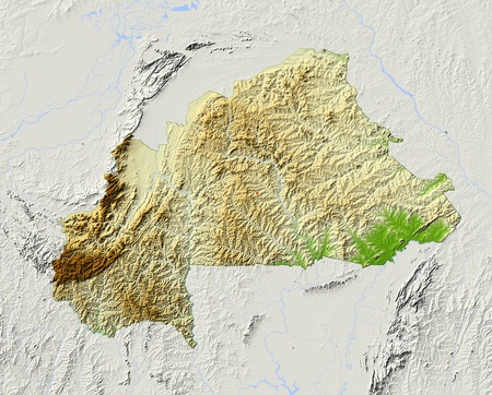 burkina faso: Burkina Faso. Shaded relief map. Surrounding territory greyed out. Colored according to elevation. Includes clip path for the state area. Projection: Mercator Extents: -6.538.516 Data source: NASA Stock Photo