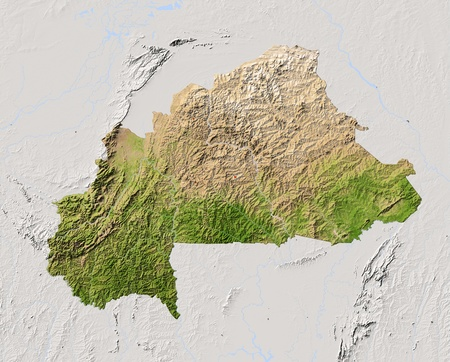 bathymetry: Burkina Faso. Shaded relief map. Surrounding territory greyed out. Colored according to vegetation. Includes clip path for the state area. Projection: Mercator Extents: -6.538.516 Data source: NASA