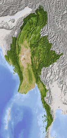 myanmar: Burma (Myanmar). Shaded relief map. Surrounding territory greyed out. Colored according to vegetation. Includes clip path for the state area. Projection: Mercator Extents: 91.5101.89.129.1 Data source: NASA