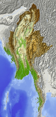 Burma (Myanmar). Shaded relief map. Surrounding territory greyed out. Colored according to elevation. Includes clip path for the state area. Projection: Mercator Extents: 91.5101.89.129.1 Data source: NASA Imagens