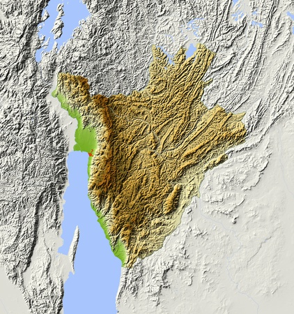 tanganyika: Burundi. Shaded relief map. Surrounding territory greyed out. Colored according to elevation. Includes clip path for the state area. Projection: Mercator Extents: 28.531.3-4.9-1.9 Data source: NASA