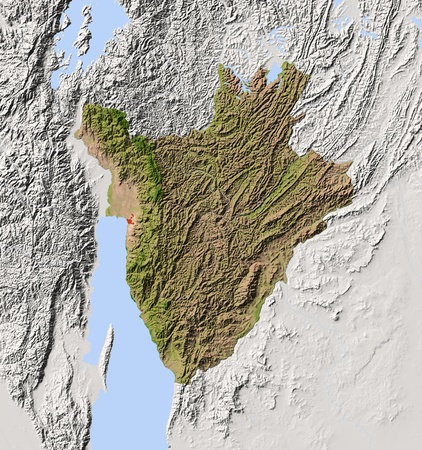 tanganyika: Burundi. Shaded relief map. Surrounding territory greyed out. Colored according to vegetation. Includes clip path for the state area. Projection: Mercator Extents: 28.531.3-4.9-1.9 Data source: NASA Stock Photo