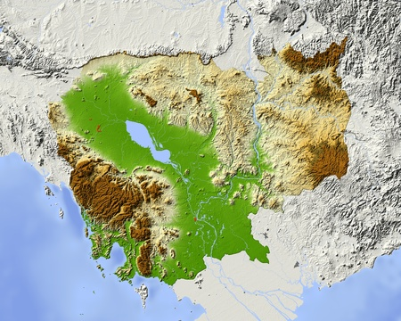 Cambodia, shaded relief map. Colored according to elevation, with major urban areas. Includes clip path for the state boundary.  Projection: Mercator ; Geographic extents: W: 101.5; E: 108.5; S: 9.8; N: 15.3