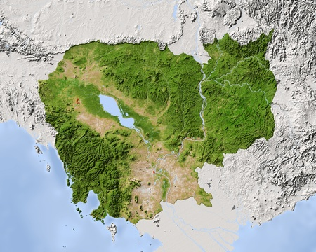Cambodia, shaded relief map. Colored according to vegetation, with major urban areas. Includes clip path for the state boundary.  Projection: Mercator ; Geographic extents: W: 101.5; E: 108.5; S: 9.8; N: 15.3