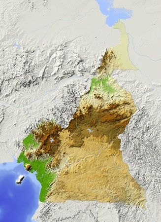 cameroon: Cameroon. Shaded relief map. Surrounding territory greyed out. Colored according to elevation. Includes clip path for the state area. Projection: Mercator Extents: 7.517114 Data source: NASA