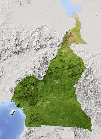cameroon: Cameroon. Shaded relief map. Surrounding territory greyed out. Colored according to vegetation. Includes clip path for the state area. Projection: Mercator Extents: 7.517114 Data source: NASA