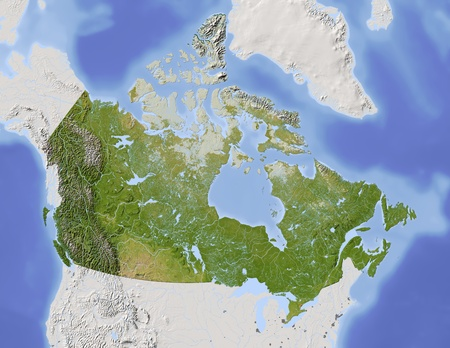 canada map: Canada. Shaded relief map, with major urban areas. Surrounding territory greyed out. Colored according to vegetation. Includes clip path for the state area. Projection: Lambert Azimuthal Equal-Area -10060 Extents: -13035-1056.5 Data source: NASA