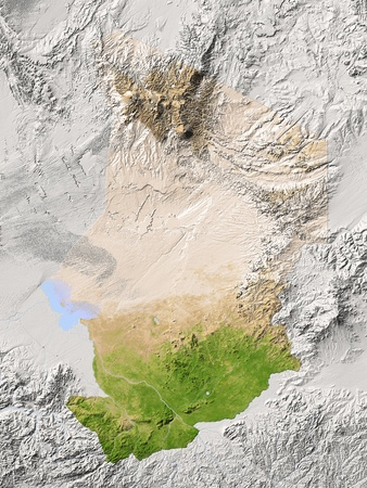 chad: Chad. Shaded relief map. Surrounding territory greyed out. Colored according to vegetation. Includes clip path for the state area. Projection: Mercator Extents: 11.525.56.524.5 Data source: NASA