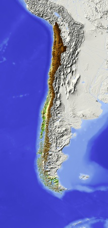 nasa: Chile. Shaded relief map. Surrounding territory greyed out. Colored according to elevation. Includes clip path for the state area. Projection: Lambert Azimuthal Equal-Area -70-30 Extents: -95-62-58-12r Data source: NASA Stock Photo