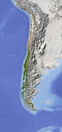 south america map: Chile. Shaded relief map. Surrounding territory greyed out. Colored according to vegetation. Includes clip path for the state area. Projection: Lambert Azimuthal Equal-Area -70-30 Extents: -95-62-58-12r Data source: NASA