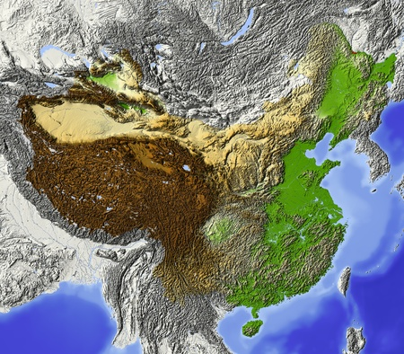 china map: China. Shaded relief map, with rivers and major urban areas. Surrounding territory greyed out. Colored according to terrain height. Projection Lambert Conic Conformal.