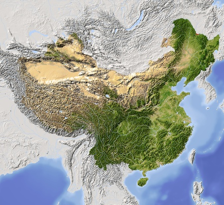 state boundary: China, shaded relief map. Colored according to vegetation, with major urban areas. Includes clip path for the state boundary.  Projection: Lambert Conic Conformal 110401565; Geographic extents: W: 82; E: 140; S: 10; N: 55