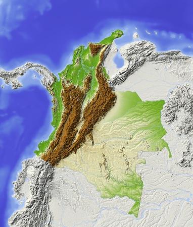 america del sur: Colombia. Mapa de socorro con grandes zonas urbanas. Alrededor de territorio gris fuera. Color de acuerdo a la altitud. Incluye la ruta de clip para el área de Estado. Proyección: Mercator Territorial: 133738 -20 Origen de datos: NASA