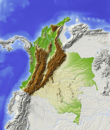 Colombia. Shaded relief map with major urban areas. Surrounding territory greyed out. Colored according to elevation. Includes clip path for the state area. Projection: Mercator Extents: 1337-38-20 Data source: NASA photo