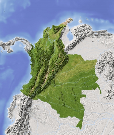 nasa: Colombia. Shaded relief map with major urban areas. Surrounding territory greyed out. Colored according to vegetation. Includes clip path for the state area. Projection: Mercator Extents: 1337-38-20 Data source: NASA