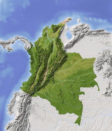 Kolumbien. Geographische Karte mit den wichtigsten städtischen Gebieten. Umliegende Gebiet ausgegraut. Farbig nach Vegetation. Mit Clip-Pfad für den Staat Bereich. Projektion: Mercator Extents: 13/37/-38/-20 Quelle der Daten: NASA