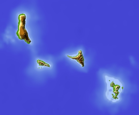 mayotte: Comoros and Mayotte Islands. Shaded relief map. Colored according to elevation. Includes clip path for the state area. Projection: Mercator Extents: 42.945.6-13.3-11.1 Data source: NASA