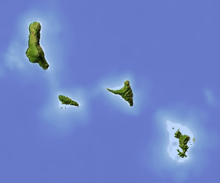 Comoros and Mayotte Islands. Shaded relief map.  Colored according to vegetation. Includes clip path for the state area. Projection: Mercator Extents: 42.945.6-13.3-11.1 Data source: NASA photo