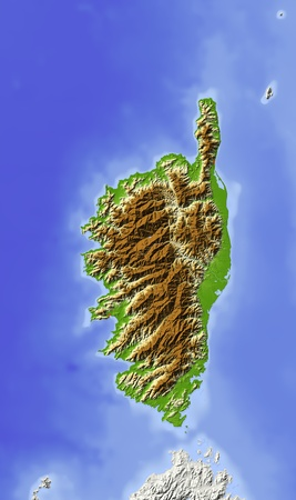 bathymetry: Corsica. Shaded relief map. Colored according to elevation. Includes clip path for the land area. Projection: Mercator Extents: -16.0-15.227.628.35