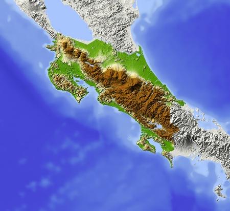 코스타리카. 구호지도 음영. 주변 지역은 회색. 해발 고도에 따라 색깔입니다. 상태 영역에 대 한 클립 경로가 포함됩니다. 투영 : 토르 익스텐트 : -87-8