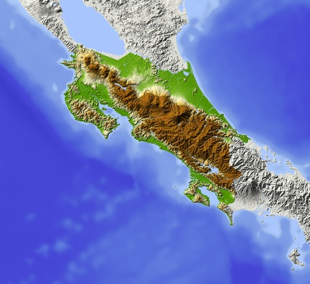 Costa Rica. Shaded relief map. Surrounding territory greyed out. Colored according to elevation. Includes clip path for the state area. Projection: Mercator Extents: -87-81.5712 Data source: NASA