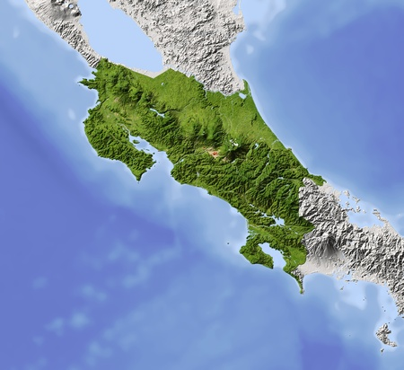 topographic map: Costa Rica. Shaded relief map. Surrounding territory greyed out. Colored according to vegetation. Includes clip path for the state area. Projection: Mercator Extents: -87-81.5712 Data source: NASA