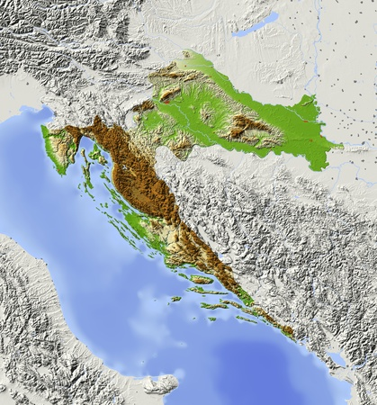 Croatia. Shaded relief map with major urban areas. Surrounding territory greyed out. Colored according to elevation. Includes clip path for the state area. Projection: Mercator Extents: 12.720.141.547.2