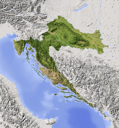 Croatia. Shaded relief map with major urban areas. Surrounding territory greyed out. Colored according to vegetation. Includes clip path for the state area. Projection: Mercator Extents: 12.720.141.547.2