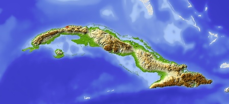 bathymetry: Cuba. Shaded relief map. Surrounding territory greyed out. Colored according to elevation. Includes clip path for the state area. Projection: Mercator Extents: -86.2-73.21924.5