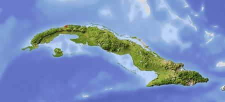 Cuba. Shaded relief map. Surrounding territory greyed out. Colored according to vegetation. Includes clip path for the state area. Projection: Mercator Extents: -86.2-73.21924.5
