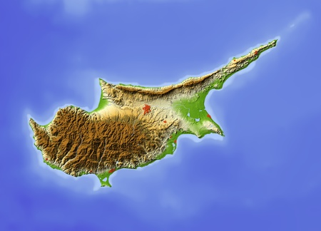 bathymetry: Cyprus. Shaded relief map, with major urban areas, without political borders. Colored according to terrain height.