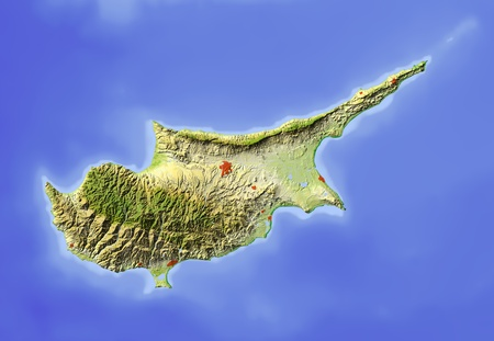 bathymetry: Cyprus. Shaded relief map.  Colored according to elevation and dominant vegetation, without political borders. Includes clip path for the island.