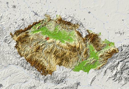 Czech Republic. Shaded relief map with major urban areas. Surrounding territory greyed out. Colored according to elevation. Includes clip path for the state area. Projection: Mercator Extents: 11.519.548.051.6 Data source: NASA Imagens
