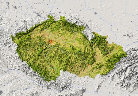 Czech Republic. Shaded relief map with major urban areas. Surrounding territory greyed out. Colored according to vegetation. Includes clip path for the state area. Projection: Mercator Extents: 11.519.548.051.6 Data source: NASA Imagens
