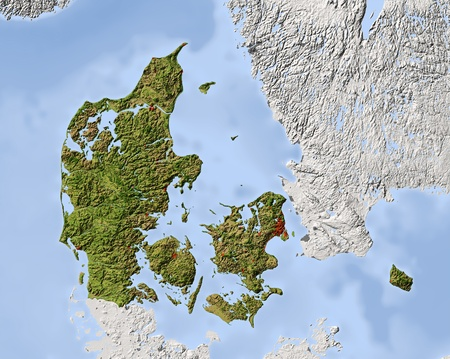 physical geography: Denmark. Shaded relief map. Surrounding territory greyed out. Colored according to vegetation. Includes clip path for the state area. Projection: Mercator Extents: 6.915.954.258.2