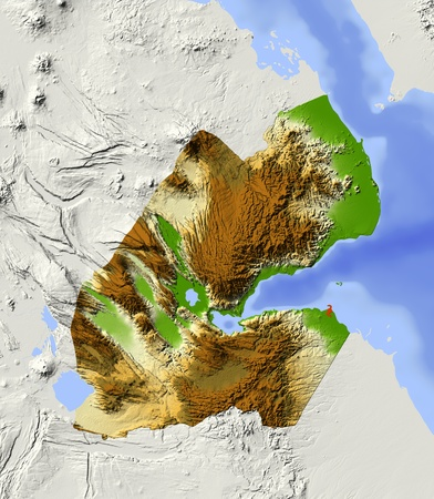 state boundary: Djibouti, shaded relief map. Colored according to elevation, with major urban areas. Includes clip path for the state boundary.  Projection: Mercator ; Geographic extents: W: 41.4; E: 43.7; S: 10.6; N: 13.2