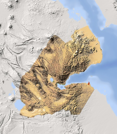 Djibouti, shaded relief map. Colored according to vegetation, with major urban areas. Includes clip path for the state boundary.  Projection: Mercator ; Geographic extents: W: 41.4; E: 43.7; S: 10.6; N: 13.2 Stock Photo